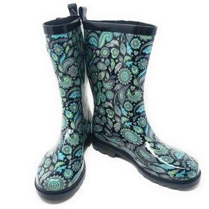 Women's Rubber Mid Calf Rain Boots, #3157, Paisley